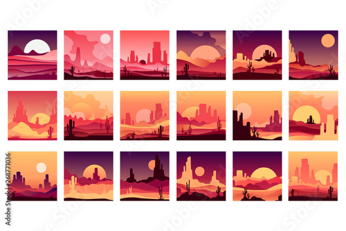 Vectoe set of cards with western desert landscapes with silhouettes of rocky mountains, cactus plants and sunset sunrise Fototapeta