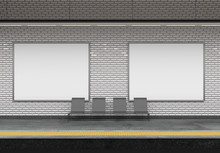 Mock Up Of An Subway Billboard Advertisement - 3d Rendering