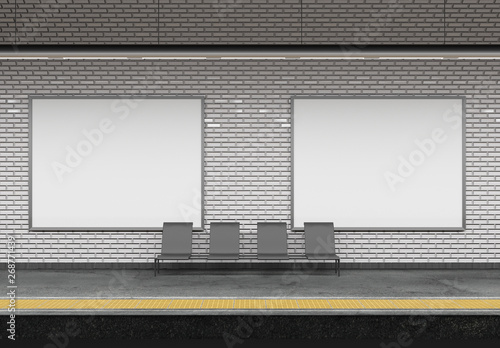 Photographie Mock up of an subway Billboard Advertisement - 3d rendering