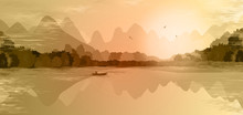 Mountain Landscape In Orange Colors. Mountains, Hills, Forest, Mountain Lake Or River, A Lonely Man In A Boat Fishes. Three Birds Fly Over The Mountains. Foggy Morning. Outdoor Recreation.  Vector