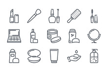 Beauty Related Line Icon Set. ...