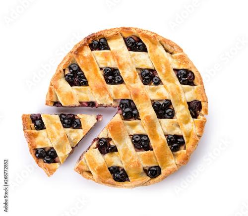 Vászonkép Tasty blueberry pie on white background