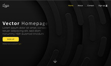 Black Web Homepage Template With Buttons And Abstract Geometric Pattern.