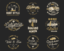 Vintage Surfing Graphics Set And Emblems For Web Design Or Print. Surfer Logo Templates. Surf Badges. Summer Typography Insignia Collection For T Shirt. Stock Vector Hipster Patches Isolated