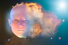 3D Render Face Of Man In Space...