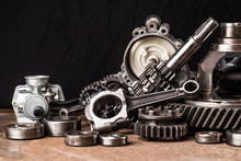 Various Car Parts And Accessories, On Black  Background - Image