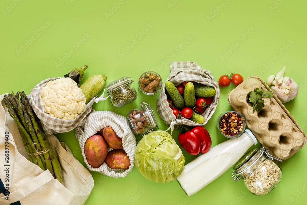 Fototapety, obrazy: Zero waste shopping concept - groceries in textile bags and glass jars, top view
