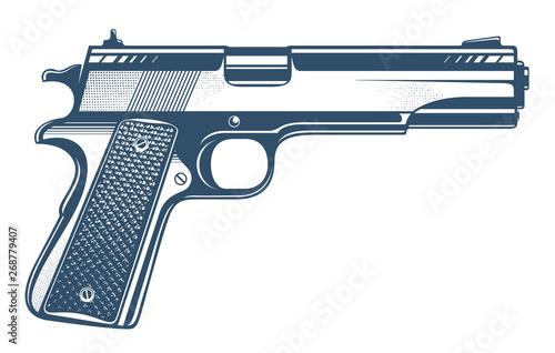 Carta da parati Gun vector illustration, detailed handgun isolated on white background