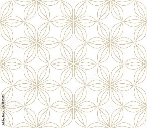 nowozytny-prosty-geometryczny-wektor-bezszwowy-wzor-z-zlocistymi-kwiatami-kreskowa-tekstura-na-bialym-tle-lekka-abstrakcjonistyczna-kwiecista-tapeta-jaskrawy-dachowkowy-ornament