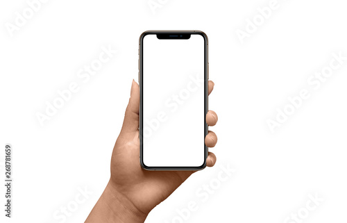 Foto  Modern black smart phone mockup with thin round edges in woman hand