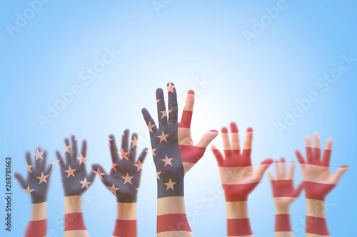 Garden Poster Brazil USA American flag pattern on people hand for voting, volunteering participation election, civil rights concept