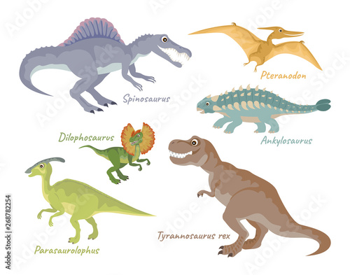 Wallpaper Mural Set of dinosaurs isolated on white background