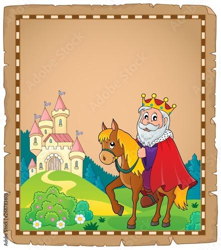 Stickers pour porte Enfants Parchment with king on horse theme 3