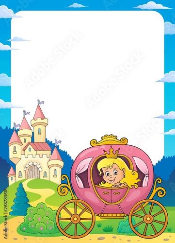 Stickers pour porte Enfants Princess in carriage theme frame 1