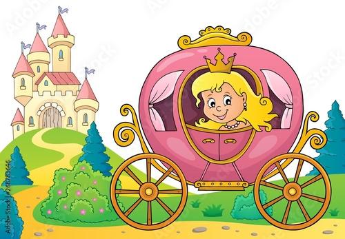 Stickers pour porte Enfants Princess in carriage theme image 3
