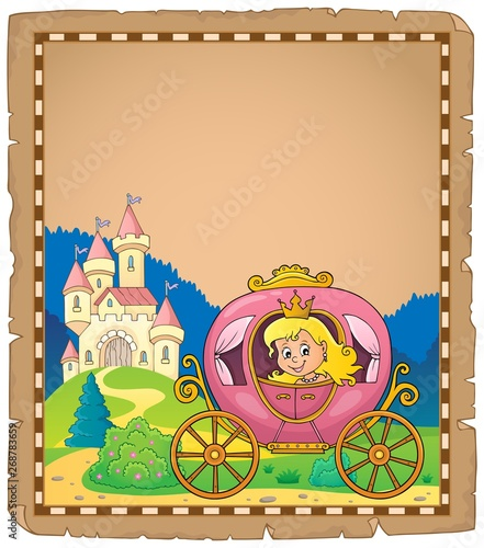 Stickers pour porte Enfants Princess in carriage theme parchment 2