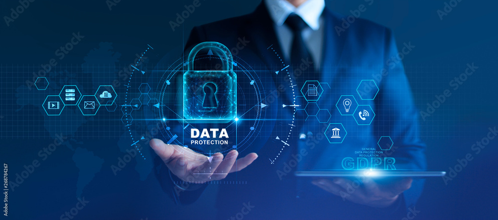 Fototapeta Data protection privacy concept. GDPR. EU. Cyber security network. Business man protecting data personal information on tablet. Padlock icon and internet technology networking connection on digital