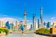 Shanghai pudong skyline with historical Waibaidu bridge, China during summer sunny day
