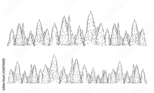 Set of two hand drawn sketch pine forest  Christmas banner