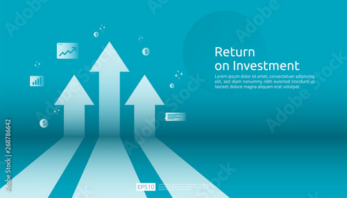 Return on investment ROI, profit opportunity concept. business growth arrows to success. arrow with dollar plant coins, graph and chart increase. business banner flat style vector illustration. - fototapety na wymiar