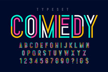 Condensed Colorful Display Font Design, Alphabet And Numbers.