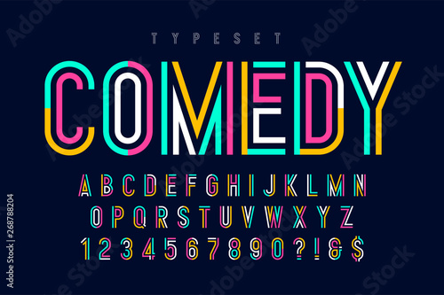 Fotografie, Tablou Condensed colorful display font design, alphabet and numbers.