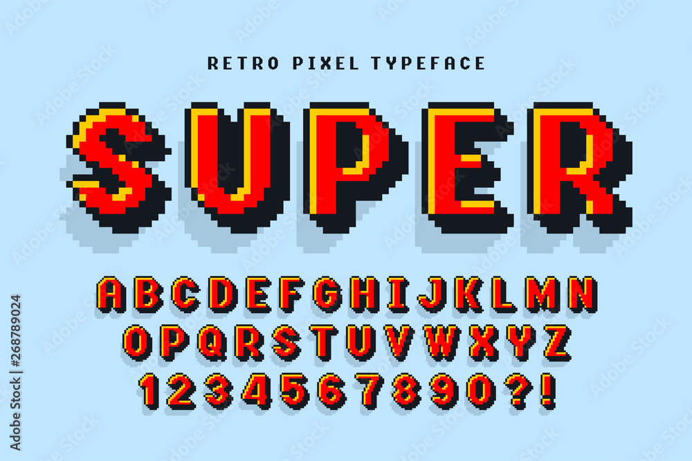 Fototapeta Pixel vector font design, stylized like in 8-bit games.
