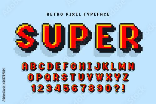 Pixel vector font design, stylized like in 8-bit games. Tablou Canvas