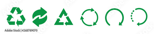 Fototapeta Recycle green vector icons