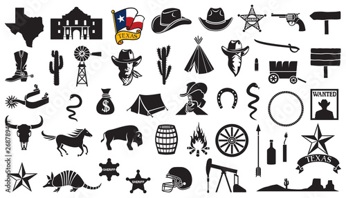 Tela Texas vector icons set (flag, the Battle of the Alamo design, map, spurs, cowbo