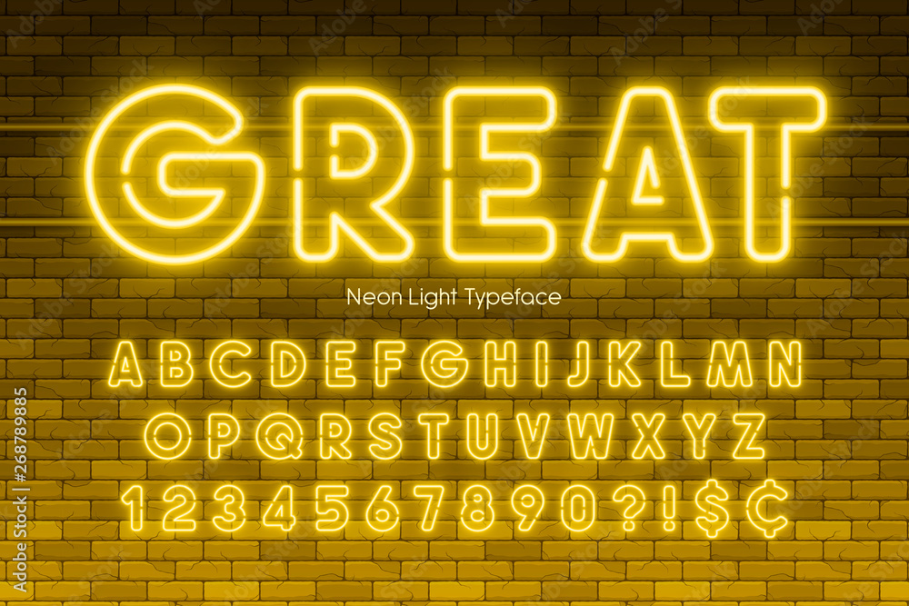 Fototapety, obrazy: Neon light alphabet, numbers, extra glowing font