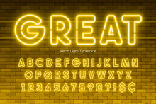 Neon Light Alphabet, Numbers, Extra Glowing Font