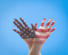 America Flag Pattern On People's Hands In American Eagle Bird Shape For USA Holiday Celebration Concept...