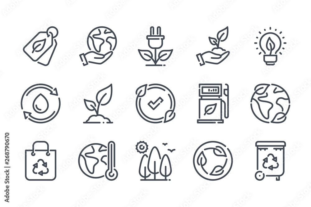 Fototapeta Environment related line icon set. Ecology and nature linear icons. Eco friendly outline vector sign collection.