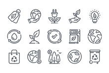 Environment Related Line Icon Set. Ecology And Nature Linear Icons. Eco Friendly Outline Vector Sign Collection.