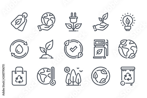 Fototapeta Environment related line icon set. Ecology and nature linear icons. Eco friendly outline vector sign collection. obraz