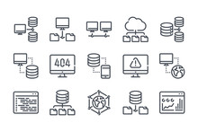 Network And Hosting Related Line Icon Set. Server And Database Vector Linear Icon Collection.