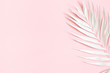 Leinwandbild Motiv Summer composition. White tropical palm leaf on pink background. Summer concept. Flat lay, top view, copy space