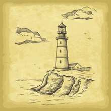 Hand Drawn Lighthouse. Old Pap...