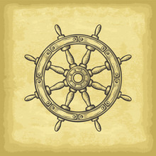 Hand Drawn Ship Wheel. Old Paper Texture Background. Template For Your Design Works. Engraved Style Vector Illustration.