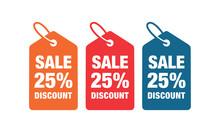 25% Discount Label Symbols Vector