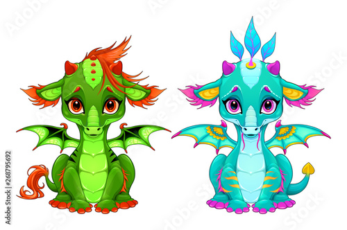 Poster Kinderkamer Baby dragons with cute eyes and smile