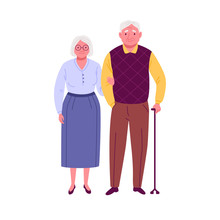 Happy Seniors Couple. Vector Illustration Of Elderly Man With Walking Stick And Woman, Holding Him Under The Arm. Isolated On White.