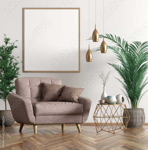 Valokuvatapetti Interior with armchair and coffee table 3d rendering