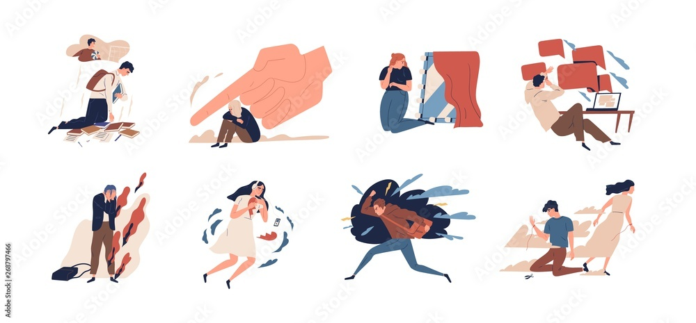 Fototapety, obrazy: Collection of teens in stressful situations or teenager's psychological problems - depression, anxiety, stress at school, separation from parent, anger, despair. Flat cartoon vector illustration.