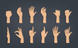 Set of hands showing different gestures.