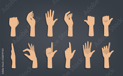 Fototapeta Set of hands showing different gestures.