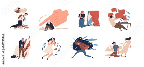 Collection of teens in stressful situations or teenager's psychological problems - depression, anxiety, stress at school, separation from parent, anger, despair. Flat cartoon vector illustration.
