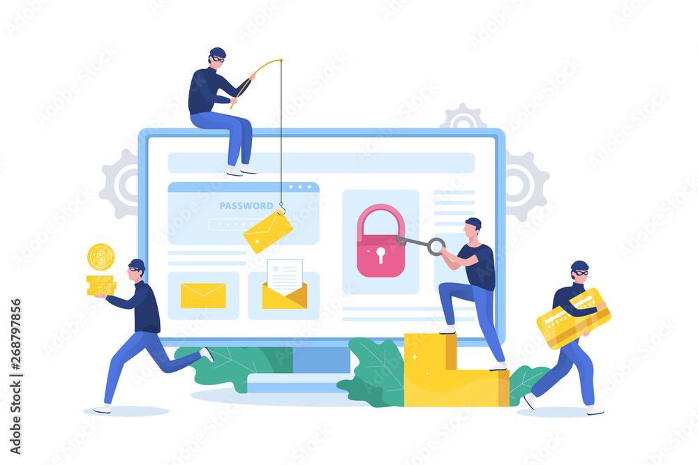 Fototapeta Hacker concept. Thiefs attack computer, steal personal data