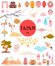 """Japan Traditional Famous Elements And Symbols Collection. Welcome To Japan.    Japan Wording Translation: """"Japan"""". Editable Vector Illustration"""